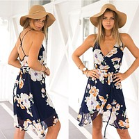 Women's Fashion Summer Floral Sleeveless Spaghetti Strap One Piece Dress [9772799629]