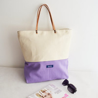 Large canvas tote bag shopping bag casual tote school bag pastel purple beige book bag tote beige genuine leather strap for women ooak