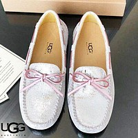UGG New Fashion bow-knot shoes women men lazy peas shoes