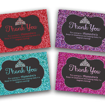 Sweet 16 Thank You Cards - Bling Sweet 16 - Glitter Sweet 16 - Sweet 16 Bling - Red - Purple - Blue - Pink - Thank You Card Tags - Favor Tag