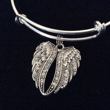 Crystal Angel Wings Expandable Charm Bracelet Adjustable Bangle Gift Angel Jewelry Inspirational