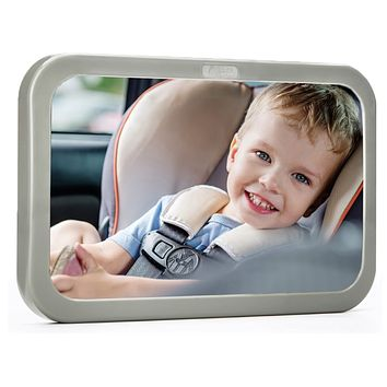 Back Seat Mirror - Baby & Mom Rear View Baby Mirror - Easily Watch your Precious Child In-Car - Adjustable, Convex and Shatterproof Glass Gray