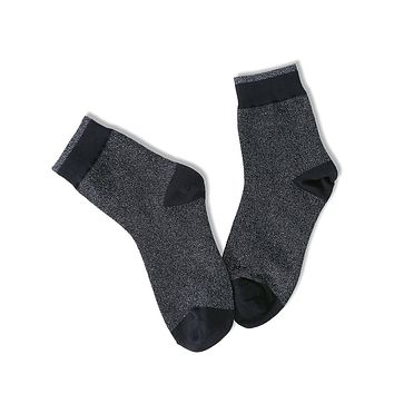 Universe Ankle Socks - Black Glittery
