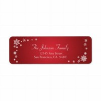 Scattered Snowflakes Holiday Address Labels (red) from Zazzle.com