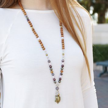 Love and Patience, Love Gemstones and Turtle Mala Necklace