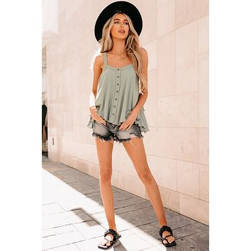 Yesenia Button-Front Flared Tank Top (Sage)