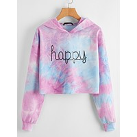 SHEIN Plus Drop Shoulder Letter Graphic Tie Dye Hoodie
