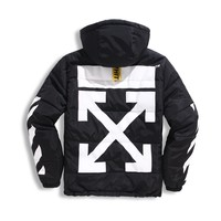 Best Deal Online OFF-WHITE Trend OW Insulated Parka Winter Thicken Coat Hooded Warm Jacket