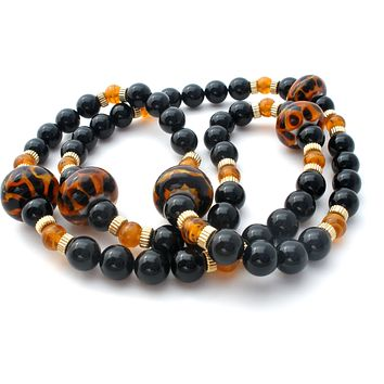 Black Onyx Bead Necklace with Amber Art Glass
