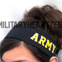 Custom Headband Military Themed for Army, Navy, Air Force, Coast Guard, Marines wife girlfriend fiance sister