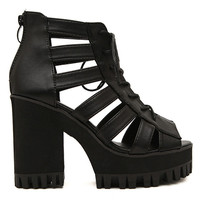 ROMWE Hollow Sheer Black High Heels