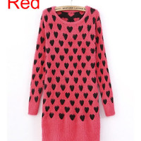 *Free Shipping* Red Sweetheart Knitting Fitting Sweater TBHTK1113r from clothingloves