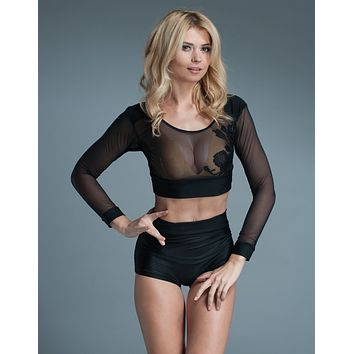 See Thru Appliqué Long Sleeves Crop Top Black Lingerie