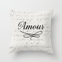 amour - white Throw Pillow by her art | Society6