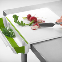 Progressive International, PCB-3600 11x15 Counter Edge Cutting Board with Collapsible Scrap Bin