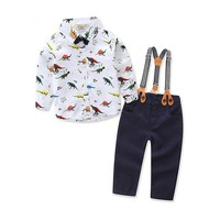 Dinosaur Print Toddlers Boys Clothes Set Kids Long sleeve Shirt Suspender Pants