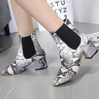 Gray Leather Look Snake Print Ankle Boots
