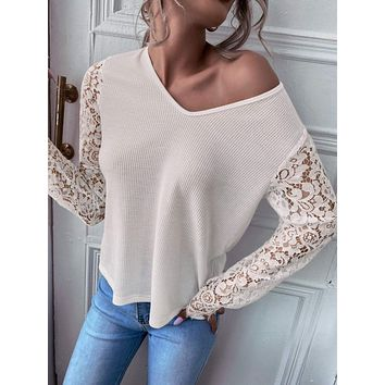 Contrast Lace Sleeve V Neck Top