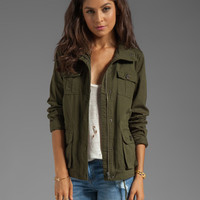 Jack by BB Dakota Leslie Cotton Twill Army Jacket in Army Green