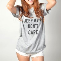 Jeep Hair Don't Care | Heather Grey T-Shirt