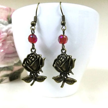 Bronze Rose Earrings with Red Crystal Beads, Flower Earrings, Bronze Earrings, Red Earrings, Rose Jewellery, Flower Jewelry, Small Gift
