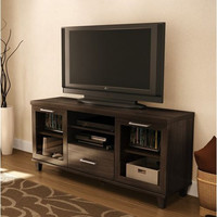 59-inch TV Stand in Hazy Brown Finish - CARB compliant