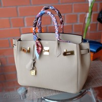 One-nice™ HERMES Birkin 30cm Beige 2017 gold hardware MINT Veau Togo clemence bag purse