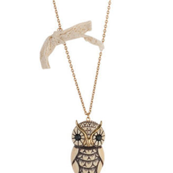 Bow & Owl Necklace