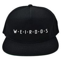 Weirdos Spaced Snapback Hat in Solid Black
