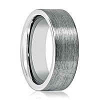Pipe Cut Flat Men's Tungsten Wedding Band Silver Brushed - 8MM