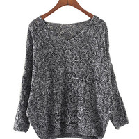 Dark Grey Crochet Sweater