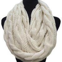 Warm Up SALE: Warm and Cozy Big and Thick Ivory Infinity Scarf
