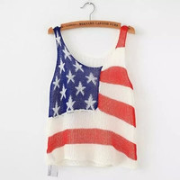 Fashion Summer Hollow Bandage Knit Floral Printed Top Women Tank Vest _ 9503
