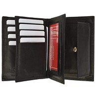 Genuine Leather European Hispter Bifold Wallet with 2 center Flaps and Coin Purse for Men 618 CF
