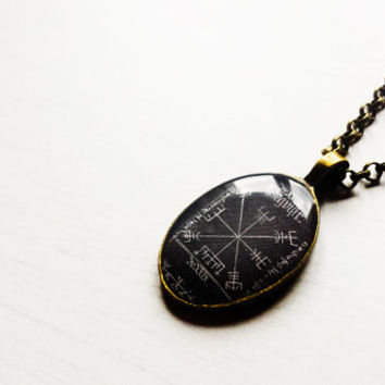 Vegvísir Sigil Compass Pendant Necklace - Icelandic Magical Stave - Viking Jewelry - Norse Jewelry - Viking Necklace -Handmade Vintage Cameo
