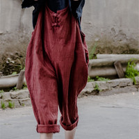 Johnature 2016 Summer New Original Women Loose Linen Cotton Wild Retro Style Do The Old Large Size Comfortably Rompers