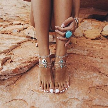 Boho Summer Style Multilayer Chains Beads Anklet Foot Natural Stone Flower Vintage Jewelry Bracelet Accessories (silver)