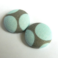 Button Earrings Light Blue- Olive Brownish Circles Abstract