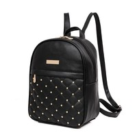 School Backpack trendy Women Rivet Girls Backpack Fashion Leather Backpack Causal Bags Bead Female Back Pack  Shoulder Bag Backpacks AT_54_4