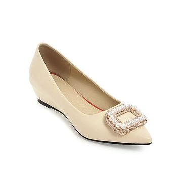 Pointed Toe Pearls Rhinestone Platform Wedges Shoes for Woman 6710