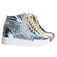Regan14 by Forever Retro Glitter Oxford Lace Up Platform Wedge Creeper, Women Sneaker