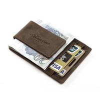 teemzone Men Genuine Crazy Horse Leather Wallet Business Casual Credit Card ID Holder With Strong Magnet Money Clip K308