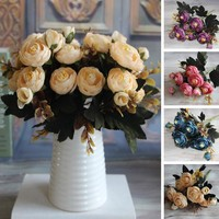 New Hot Vivid 6 Branches Autumn Artificial Fake Peony Flower Posy Home Hotel Room Bridal Wedding Decor Real Touch