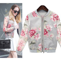 Vintage Autumn Floral Printed Coat