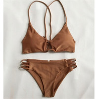 ITFABS 2017 New Sexy khaki bandage Micro Bikini Women Swimsuit Swimwear Halter Brazilian Bikini Set Beach Bathing Suit Swim Wear