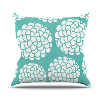 """Pom Graphic Design """"Hydrangea's Blossoms"""" Teal Circles Outdoor Throw Pillow"""