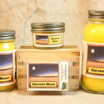 Harvest Moon Candle and Wax Melts, Nature Scent Candle, Highly Scented Candles and Wax Tarts, Fall Scent Candle, Mason Jar Candles