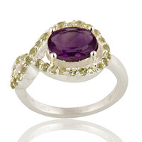 925 Sterling Silver Amethyst And Peridot Solitaire Ring