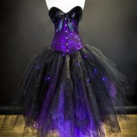 Custom Size Light up Purple and Black lace feather sparkle Burlesque Corset Witch costume Small-XL