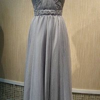 Handmade Custom Halter Spaghetti Straps Grey Appliques Beaded Fold Formal Long Prom Evening Party Bridesmaid Cocktail Homecoming Dress Gown